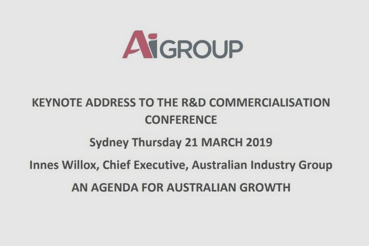 Ai Group: R&D commercialisation keynote – an agenda for Australian growth