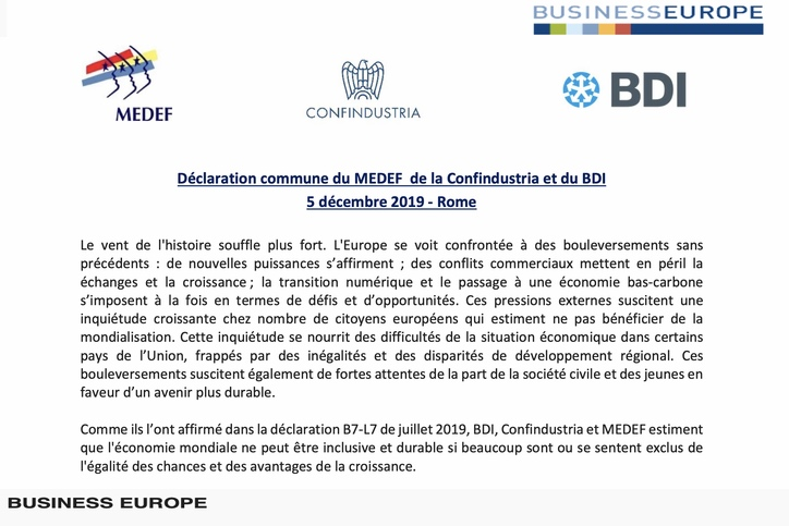 MEDEF, Confindustria and BDI express business priorities at the new European Commission